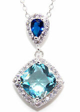Sterling Silver Sky Blue Topaz & Blue Sapphire 3.93ct Cluster Necklace (925)