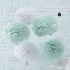 MINT GREEN & WHITE TISSUE POM POMS x 5 - Unisex Baby Shower Hanging Decorations