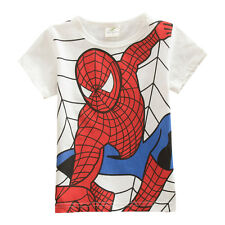 1-7T Toddler Boys Girls Short T-Shirt Top Spiderman Avenger Sport Cotton Outfits