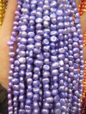 5-6mm Water Lavender Freshwater Cultured Pearl Flat Gemstone Loose Beads 14''
