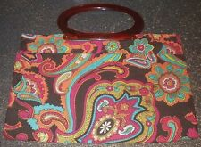 Vintage Purse Handbag~Paisley Floral Plastic Handle~Fold Ajustable~Bright Colors