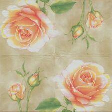 2 Serviettes en papier Fleur Rose Bouton Decoupage Paper Napkins Flowers Roses