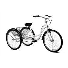 "26"" Adult Tricycle Bike 3 Wheels Rear Basket Aluminum Frame White"