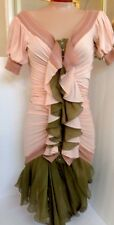 Jean Paul Gaultier Dress Soft Pink And Green Chiffon Size 4