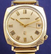 Bulova Accutron 218 with date 10k RGP vintage watch and new Speidel stretch band