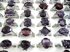 Wholesale Jewelry Lots 5pcs Silver Plated & Amethyst Stone Rings Free J73