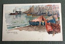 CPA. Illustrateur Manuel WIELANDT. CANNES. Le Port. 1916.