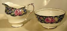 "Paragon ""Gingham Rose"" Pattern HM Queen Mary Creamer & Open Sugar Bowl"