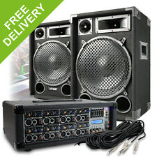 """2x Max 12"""" Party Disco Speakers + PA Amplifier Mixer + Cable DJ System 1200W"""