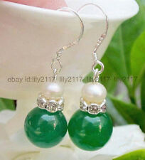 Pretty 12mm Green Jade + 7-8MM White Pearl Silver Hook Drop Dangle Earrings