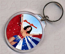 WONDER WOMAN round keyring - DOUBLE SIDED!