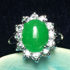 4 Ct Jade Solitaire Oval Green Ring Gemstone Genuine Jadeite Jewelry Size 6 J33