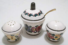 Gmundner Keramik, Austria - Salt Shaker, Pepper and Mustard Set - Hand Painted
