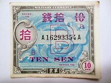 10 Sen Japan WW Il Military Currency,  Nice Low Priced Bill for any collection