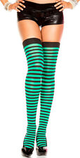 Opaque Striped Green | THIGH HIGHS MUSIC LEGS Hosiery Socks Stockings Tights Der