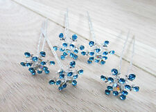 5x Blue Silver Diamante Snowflake Hair Pins Frozen Elsa Winter Bridal Slides B96