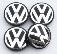 4 x 55mm Volkswagen VW Alloy Wheel Centre Hub Caps Golf Passat Polo Black