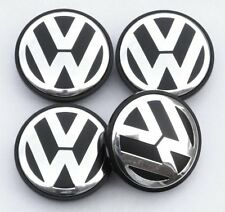 4 x 70mm Volkswagen VW Alloy Wheel Centre Hub Caps Golf Passat Polo Black