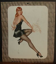 A. Vargas Calendar Page October 1946 Red Head Short Black Dress Jack O' Lantern