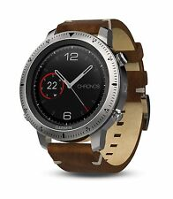 Garmin Fenix Chronos GPS Luxury Steel Watch w/ Vintage Leather Band 010-01957-00