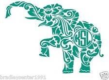 "Monogram Initials 5"" Elephant Vinyl Decal Sticker Car Truck Laptop Cute Floral"