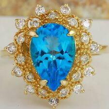Estate 5.22 Carats Natural SWISS BLUE TOPAZ and Diamond 14K Yellow Gold Ring