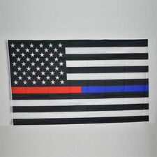 Thin Blue & Red Line Police & Fire respect and honor law enforcement Flag 3x5' H