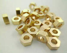 30pcs 6x4mm Raw Brass Hexagon Geometry Beads Spacers Large Hole Gold Tone Cord