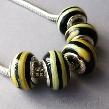 5PCs Wholesale Black And Taupe Lampwork Glass European Charm Beads