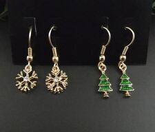 Set of two pair snowflake and Christmas tree dangle earrings, lovely xmas design