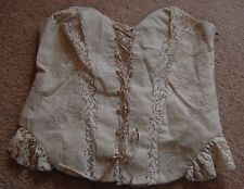 NEXT Beige Embroidered Corset Bodice Basque Steampunk Lace Frill Size 12 1.99p