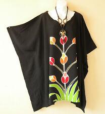 Black Plus Size Kaftan Tunic Gypsy Boho Hippy Women Batwing Blouse Top -2X to 5X