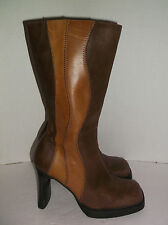 SEYCHELLES~2 Tone BROWN LEATHER~Mid-Calf~HIGH HEEL Boots~SQUARE TOE~Size 7~C@@L!