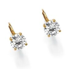 PalmBeach Jewelry 4 TCW Cubic Zirconia 14k Gold-Plated Stud Earrings