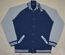 New Large POLO RALPH LAUREN Men's fleece baseball varsity jacket Navy base ball