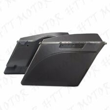 "4"" Stretched Unpainted Black Saddlebags W/ Lib For '94-'13 Harley Touring Street"