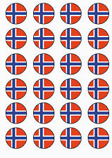 ✿ 24 Edible Rice Paper Cup Cake Toppings, Cake decs - Norwegian flag ✿
