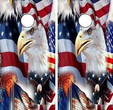 C73 American Flag Eagle Cornhole Board Wrap LAMINATED Wraps Decals Vinyl Sticker
