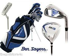 Ben Sayers M15 +1 Inch  Complete Golf Club Set Stand Bag Mens New Steel Clubs