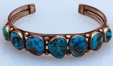 Navajo Sterling Silver Old Pawn Vintage Bracelet with Turquoise