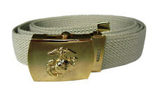 WW2 Type KHAKI ARMY BELT with US MARINE CORPS Buckle - One Size 100% Cotton