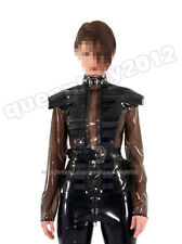 100% Latex Rubber Gummi Coat Jacket Blouse Catsuit Suit Buckle Belt Transparent