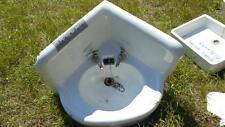 Antique Cast Iron White Porcelain Corner Sink Vintage Bathroom enamel 20 1/2 x 2