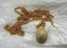"Joan Rivers YELLOW ISH Egg Pendant Necklace  32"" BLUE FLOWER FORGET ME NOT ?"