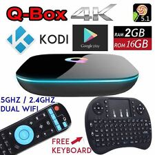 Q-Box 2GB+16GB Android 5.1 TV Box KODI 5Ghz Dual WIFI Media Player+Mini Keyboard