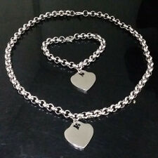 New Womens Stainless Steel Silver Heart Pendant With 5mm Rolo Chain Jewelry Set
