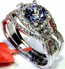 Cubic Zirconia Ring in Platinum Overlay Sterling Silver (Size 10) TGW 5.50 cts
