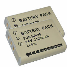 2pcs Li-Ion NP-95 Battery for Fuji Fujifilm X70 X100T X100 X100s X-S1 FinePix