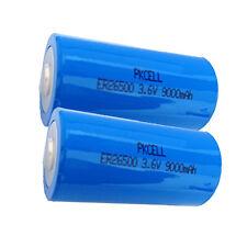 2pcs Li-SOCL2 C Size Battery ER26500 3.6V 9000mAh Single Use Battery PKCELL