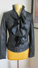 New BAGATELLE Ruffle Front Black Leather Jacket NWT S $268